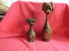 TWO Vintage WOOD Carved Cryptomeria Dogs? Japan Wony Spiral Carved GOOD Stamped