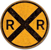 Railroad crossing round Metal tin sign train home garage Wall decor new