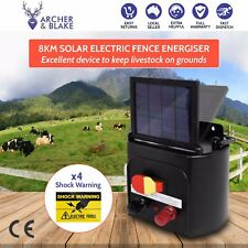 Electric Fence Solar Charger Energiser Power Energizer Farm Pet Animal to 8km