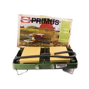 RARE VINTAGE PRIMUS SWEDEN Model 2397 Two Burner Propane Camping Stove w/box