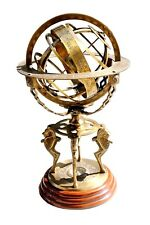 "Antique Brass 18"" Armillary Globe Sphere Engraved with Compass on Wooden Base"