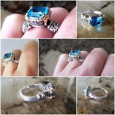 Konstantino Blue Topaz Ring Great Details!  Size 8 925 and 18kt