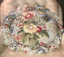 Country Curtains - Round Floral Accent Pillow with Ruffle Trim