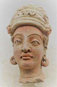 ANCIENT GANDHARA STUCCO STATUE FRAGMENT HEAD OF A BUDDHA 200BC-200AD RARE