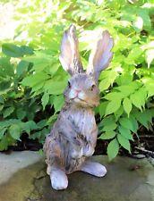 Garden Ornament Grey Rabbit Hare Sculpture indoor outdoor Wood Effect