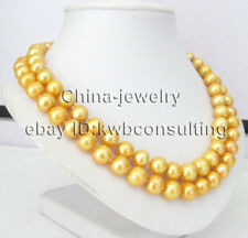 "ONLY AAA 18-19"" 2row 11-13mm gold round freshwater pearl necklace - 925SS Mabe"