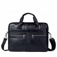 14 Inch Briefcase Leather Laptop Messenger Shoulder Work Travel Handbag BLACK