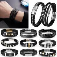 Women Men Braided Leather Steel Magnetic Clasp Bracelet Wristband Bangle Wrap