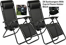 Reclining Garden Chairs Zero Gravity x2 SunLounger Adjustable W/Phone Cup Holder