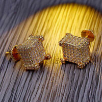 18K Gold ICED OUT Simulate Diamond Micropave AAA Earring Stud Square Hip Hop DD