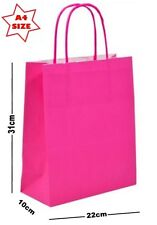 10 x Hot Pink Paper Party Gift Bags ~ Boutique Shop Loot Carrier Bag - SIZE A4