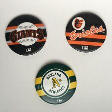 Vintage Baseball Pinback Lot San Francisco Giants, Baltimore Oriole's Oakland A'