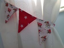 CATH KIDSTON WHITE COWBOY BOYS BUNTING CURTAIN TIE-BACKS with RED SHOOTING STARS