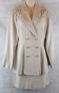 Dawn Joy Fashions Size 5/6  2 Piece Skirt Suit 100% Rayon Double Breasted Blazer