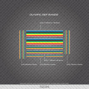 01234 Olympic Stripes Bands - Bicycle Decals Stickers - White Edges