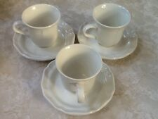 """Mikasa French Countryside White CUPS & SAUCERS F9000 (4 sets) 3 1/2"""" High 10 oz"""