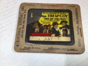 "1924 Movie Ad Columbia  Glass Slide ""End of the Trail"" Tim Mccoy Magic Lantern"