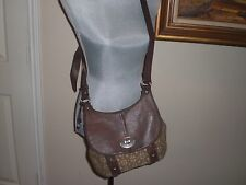 FOSSIL MADDOX FLAP CROSSBODY  BROWN CANVAS/ LEATHER BAG
