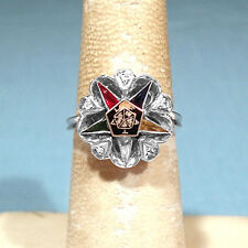 "CRAFT SOLID 10K WHITE GOLD DIAMONDS & ""GEMSTONES"" EASTERN STAR RING ~ SIZE 6 1/2"