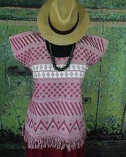 Red & White Hand Woven Huipil Backstrap loom San Juan Yaeé Mexico Hippie Cowgirl