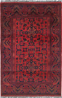 """Vintage Hand-Knotted Carpet 3'3"""" x 4'10"""" Traditional Oriental Wool Area Rug"""