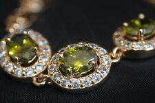 "Vintage Design 3 Oval  Peridot Rose Gold Bracelet 16 - 19cm / 6.29 - 7.48"""