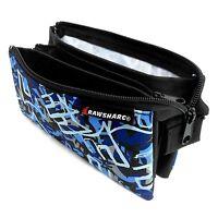 "Pencil Case Rawsharc ""Blue & Black Camouflage Design"" Triple Pocket"
