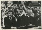 1963 President John F Kennedy Berlin Trip, Waving to Crowd From Car, Wire Photo