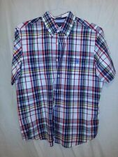 U. S. Polo Assoc Slim Mens L Red Blue Stripe Button Front Short Sleeve Shirt EUC