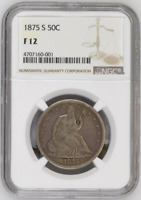 1875-S - USA - Half Dollar 50C - Seated Liberty - NGC F 12 - COIN !!!