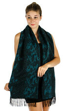 Soft Jacquard Animal Print Scarf Teal With Fringe Accents