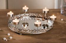 Teelichthalter Tablett Spiegelglanz, Kerzen, Windlicht, Spiegel, silber