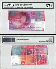 Switzerland 20 Franken, 2014, P-69h, UNC, A. Honegger, PMG 67 EPQ