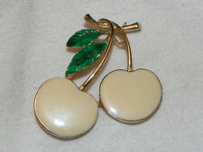 Vintage Cream Enamel Gold Tone Cherry Pin Brooch Green Leaves