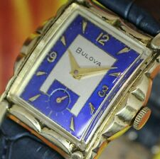 🔥Vintage mens 1956 Bulova STUNNING TWO TONE DIAL ULTRA CLEAN Art Deco Watch NR