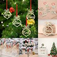 Ornaments Decoration Xmas Gift 6PCS Christmas Tree Hollow Hanging Wooden M5B9