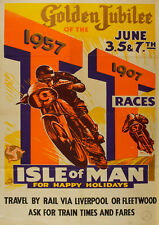 Reproduction Vintage Motorcycle Poster, Isle Of Man TT Golden Jubilee, Wall Art