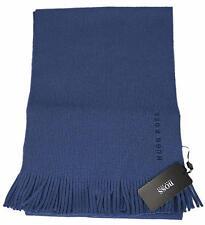 NEW Boss Hugo Boss Men's Slate Blue Wool Fringed Logo Scarf Muffler