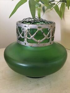 Loetz Kralik Iridescent Art nouveau Bohemian green glass vase with pewter top