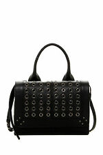 NEW ISABELLA FIORE Easy Rider Grommet Studded Leather Satchel Handbag Black $350