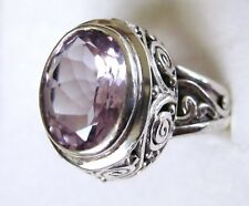 Rose de France Amethyst Artisan Ring, 925 Sterling Silver size 8 ---  3.44cts