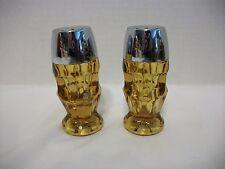 VINTAGE AMBER GLASS SALT AND PEPPER SHAKERS-HEAVY, STARBURST ON BOTTOM