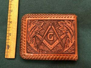 Vintage Masonic All Leather Wallet/Billlfold - Excellent detailing!