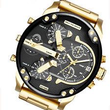 Men's Date Gold Stainless Steel Military Quartz Sport Wrist Watch Popular Cub