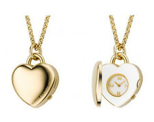 MARC JACOBS GOLD TONE HEART LOCKET+WHITE,CREAM DIAL CHAIN WATCH NECKLACE MBM7040