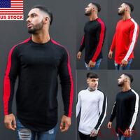 Mens Casual Long Sleeve T-Shirt Loose O Neck Plain Tops Blouse Shirts Tee M-XXL