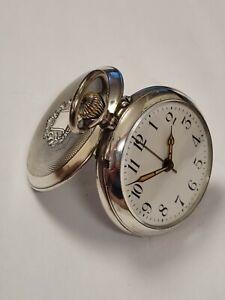 schwere Taschenuhr mit Wecker aus Silber um 1916 Rarität !!!