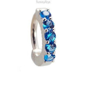 TummyToys Silver Navel Ring - Pave Set with 5 Sapphire Blue CZ's [TT-64024]