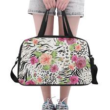 Lovely Weekender Travel Bag Zebra and Decorative Roses Overnight Duffle Bag
