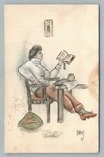 Woman Reading Book in Turtleneck—Antique Hand Colored PC Farkas Postcard 1912